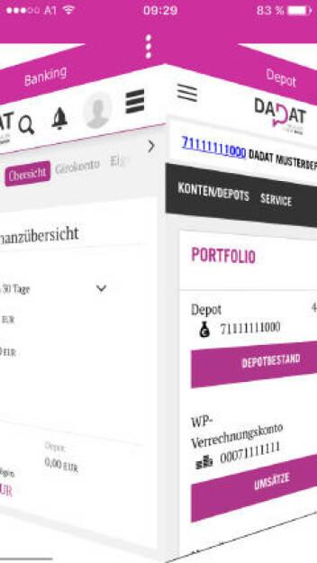 """Vor einem halben Jahr ging mit der DADAT Bank (www.dad.at) eine neue österreichische Direktbank an den Start. Jetzt hat die DADAT Bank eine neue App gelauncht, deren einzigartiges """"Cube-Design"""" insbesondere das Navigieren am Smartphone noch einfacher gestaltet. Im Rahmen der All-In-One-Lösung stehen neben sämtlichen Banking-Funktionen auch alle Services der DADAT Bank für den Handel mit Wertpapieren zur Verfügung. Bildquelle: Dadat (19.10.2017)"""