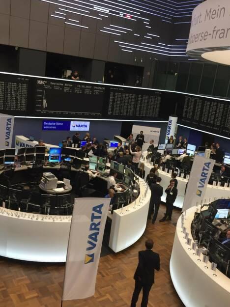 Varta, IPO, Frankfurter Börse, Deutsche Börse, Parkett, © Viola Grebe (19.10.2017)