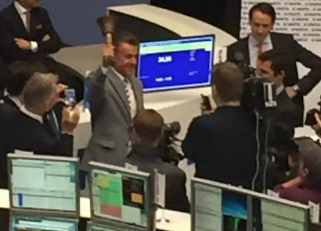 Varta, IPO, Michael Tojner, Opening Bell, Fankfurter Börse, Deutsche Börse, Parkett, © Viola Grebe (19.10.2017)