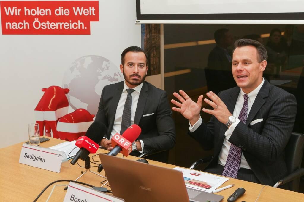 Wiener Börse startet ETF-Segment: Bahram Sadighian, Leiter des ETF-Geschäfts in Österreich und Osteuropa bei BlackRock, Christoph Boschan (CEO Wiener Börse); Fotocredit: Wiener Börse (19.10.2017)