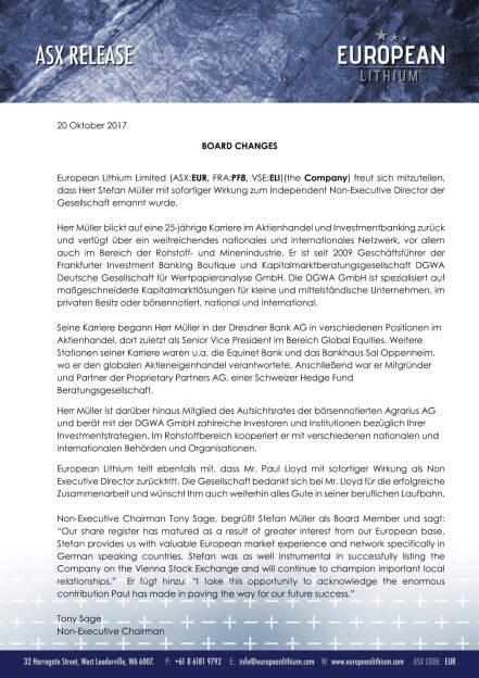 European Lithium: Stefan Müller wird Independent Non-Executive Director , Seite 1/2, komplettes Dokument unter http://boerse-social.com/static/uploads/file_2371_european_lithium_stefan_muller_wird_independent_non-executive_director.pdf (20.10.2017)