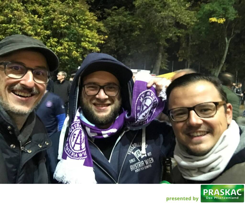 Josef Chladek (BSN), Sebastian Leben (https://www.boersenradio.at ), Michael Plos (BSN) - nach der Gewinn-Messe 2017 auf das European League Match Austria-Rijeka (20.10.2017)