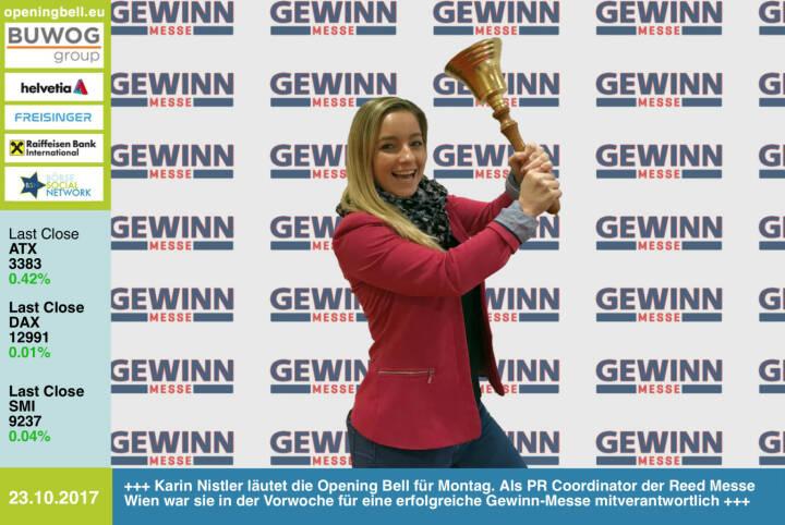 #openingbell am 23.10.: Karin Nistler läutet die Opening Bell für Montag. Als PR Coordinator der Reed Messe Wien war sie in der Vorwoche für eine erfolgreiche Gewinn-Messe mitverantwortlich. Bilder unter http://photaq.com/page/index/3300 https://www.gewinn-messe.at http://www.boerse-social.com/goboersewien https://www.facebook.com/groups/GeldanlageNetwork/