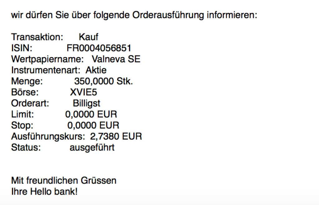 Kauf Valneva für #100100hello #goboersewien (23.10.2017)