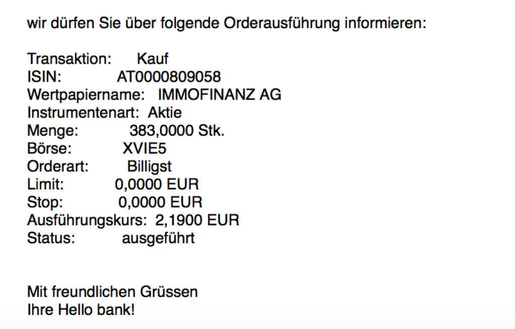 Kauf Immofinanz für #100100hello #goboersewien (23.10.2017)