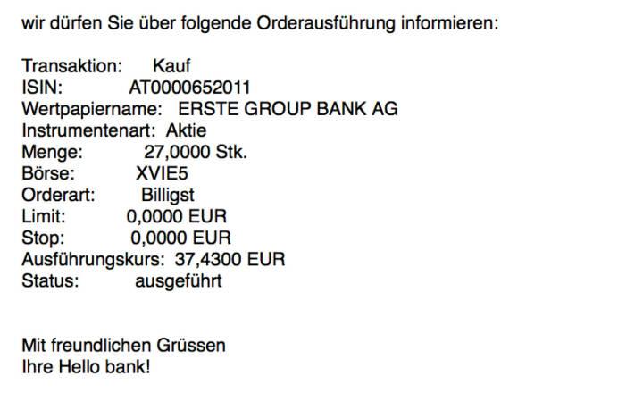 Kauf Erste Group für #100100hello #goboersewien
