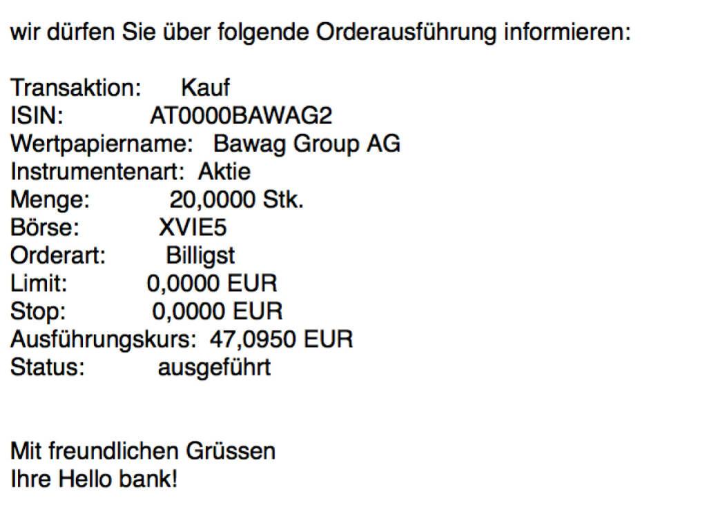 Nachkauf Bawag Group für #100100hello vor der ATX-Aufnahme #goboersewien (25.10.2017)