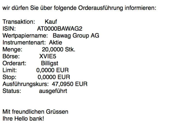Nachkauf Bawag Group für #100100hello vor der ATX-Aufnahme #goboersewien