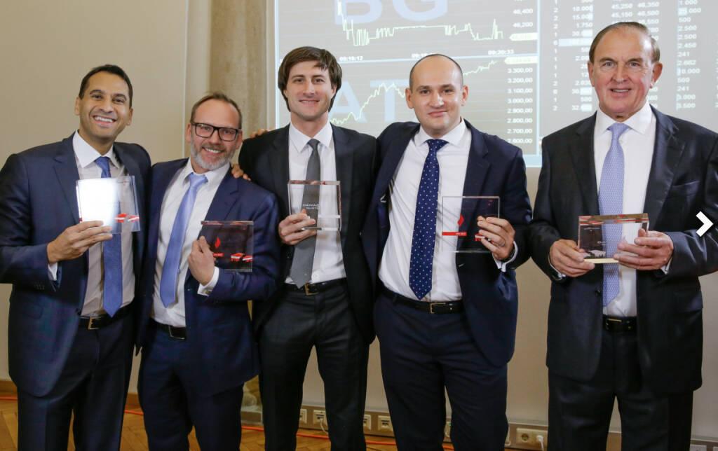 Bawag-Team mit Trophäen, Fotocredit: Wiener Börse (26.10.2017)