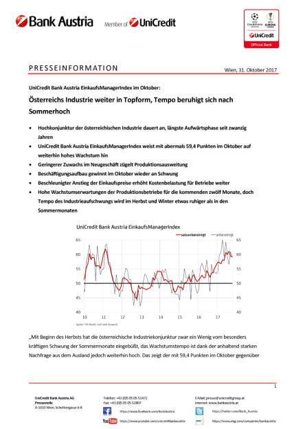 Österreichs Industrie weiter in Topform, Seite 1/4, komplettes Dokument unter http://boerse-social.com/static/uploads/file_2381_osterreichs_industrie_weiter_in_topform.pdf (31.10.2017)