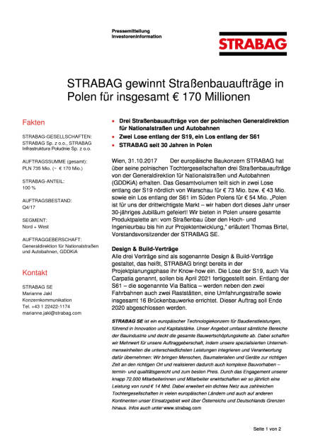 Strabag gewinnt Straßenbauaufträge in Polen für insgesamt 170 Millionen Euro, Seite 1/2, komplettes Dokument unter http://boerse-social.com/static/uploads/file_2382_strabag_gewinnt_strassenbauauftrage_in_polen_fur_insgesamt_170_millionen_euro.pdf (31.10.2017)