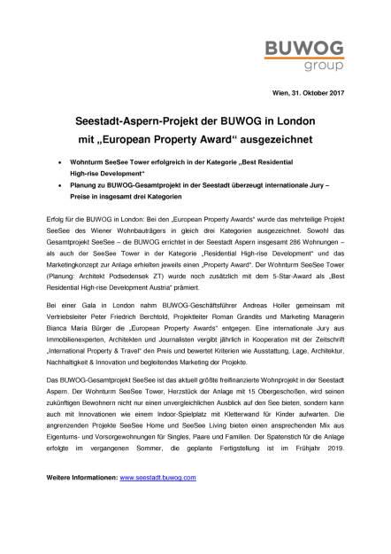 """Seestadt-Aspern-Projekt der Buwog in London mit """"European Property Award"""" ausgezeichnet, Seite 1/2, komplettes Dokument unter http://boerse-social.com/static/uploads/file_2383_seestadt-aspern-projekt_der_buwog_in_london_mit_european_property_award_ausgezeichnet.pdf (31.10.2017)"""