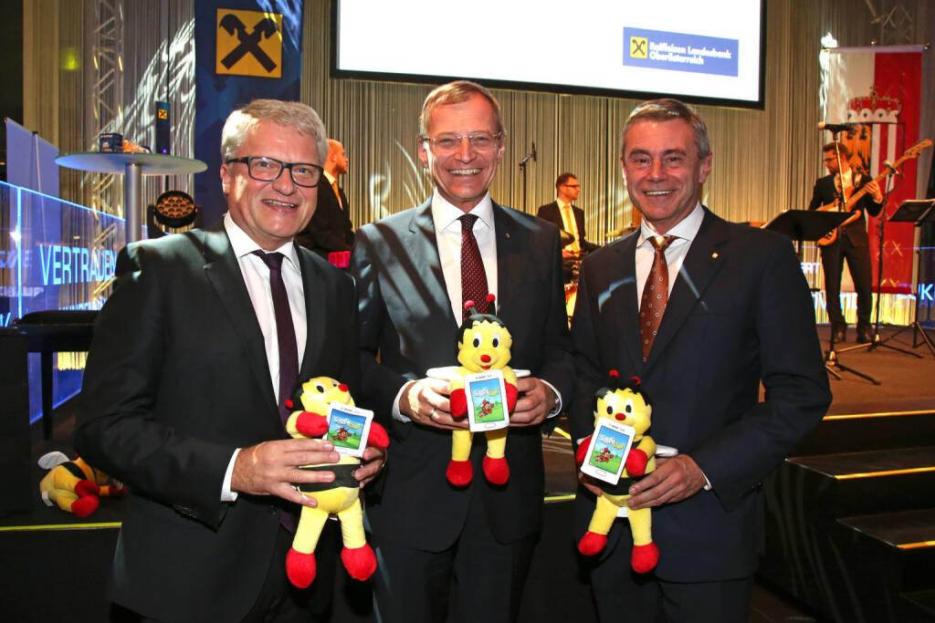 Bürgermeister Klaus Luger,  Landeshauptmann Thomas Stelzer, Generaldirektor Heinrich Schaller, Fotocredit: RLB OÖ/Strobl (01.11.2017)
