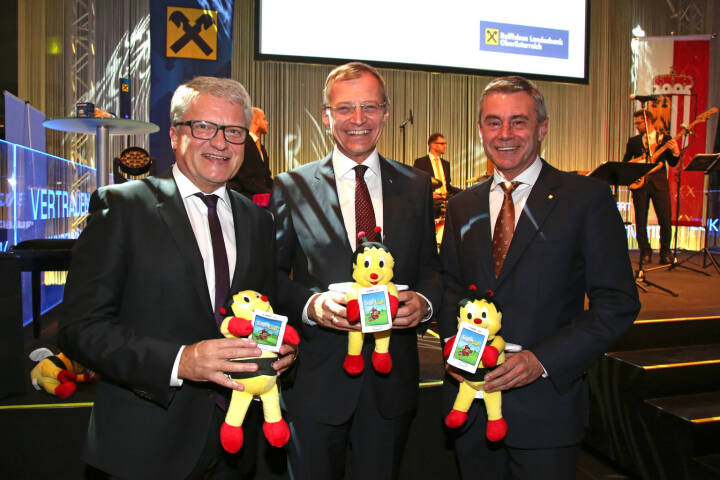 Bürgermeister Klaus Luger,  Landeshauptmann Thomas Stelzer, Generaldirektor Heinrich Schaller, Fotocredit: RLB OÖ/Strobl