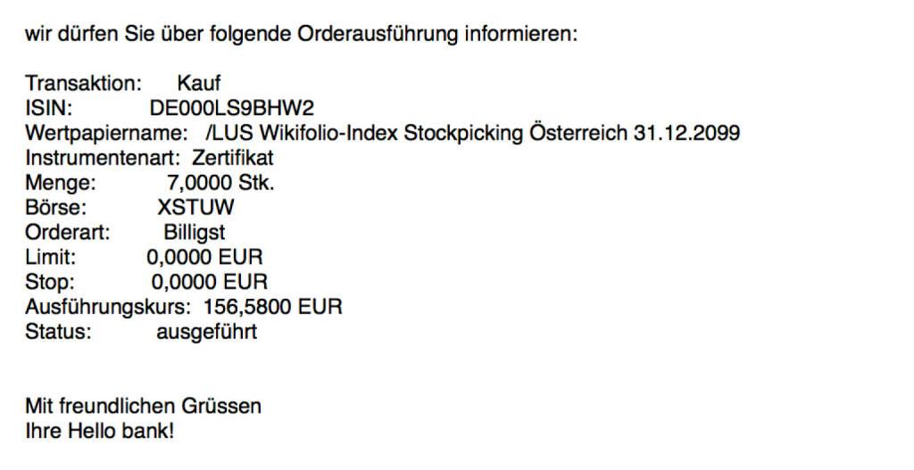 Kauf Stockpicking Österreich für #100100hello #goboersewien  (01.11.2017)