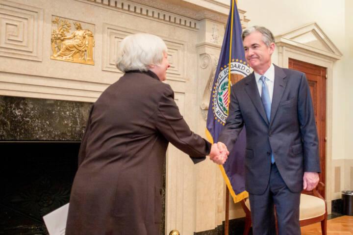 FED-Chefin Janet Yellen und Nachfolger Governor Jerome Powell; Fotoquelle: https://www.federalreserve.gov