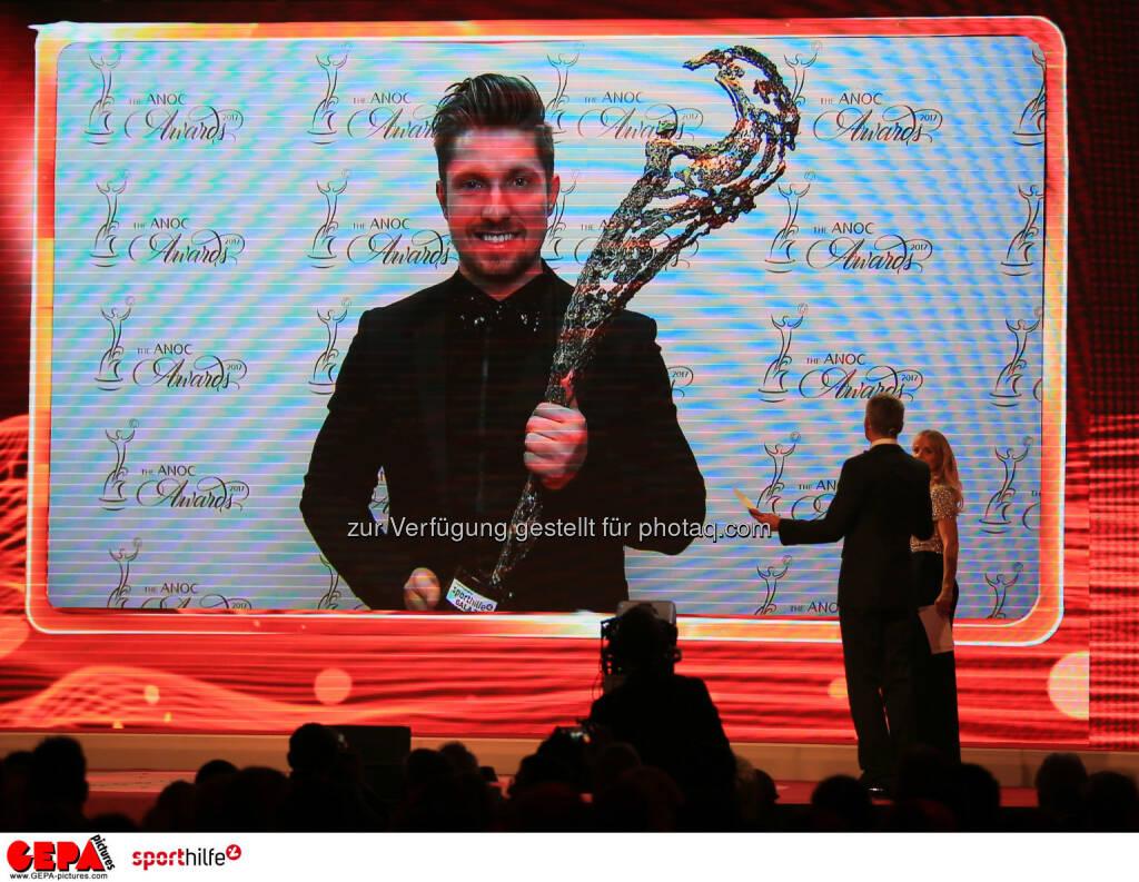 Lotterien Sporthilfe-Gala -  Marcel Hirscher auf einem TV-Screen (Photo: GEPA pictures/ Mario Buehner) (04.11.2017)