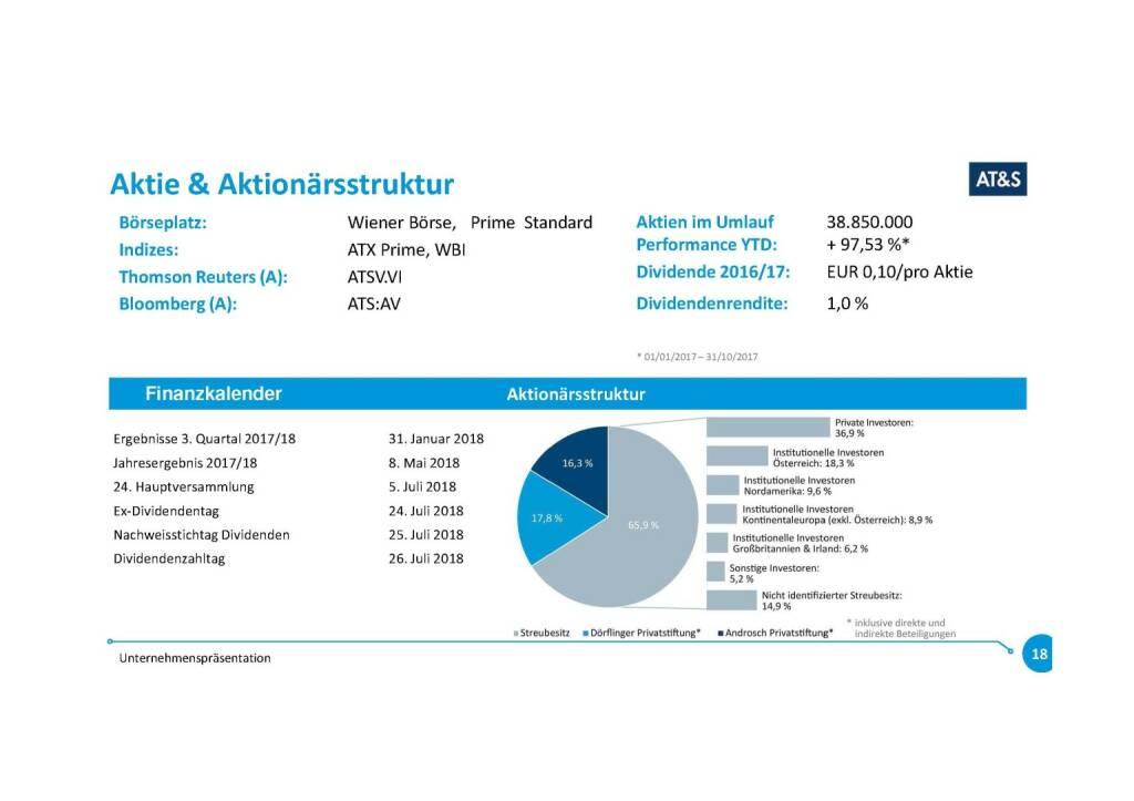 Präsentation AT&S - Aktie & Aktionärsstruktur (07.11.2017)
