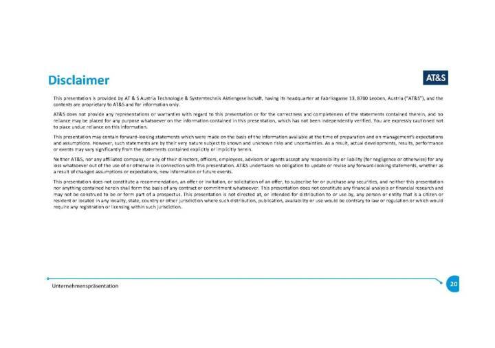Präsentation AT&S - Disclaimer