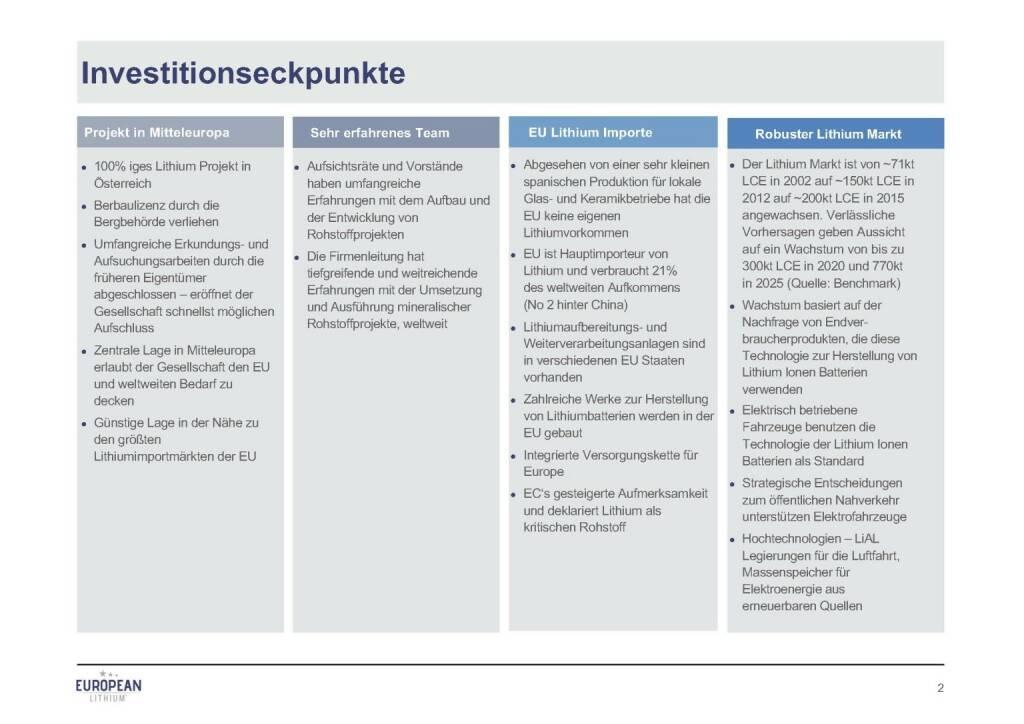 Präsentation European Lithium - Investitionseckpunkte (07.11.2017)