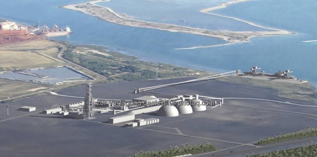 Die neue Direktreduktionsanlage des voestalpine-Konzerns zugunsten des La Quinta Trade Gateway in San Patricio County nahe der Stadt Corpus Christi (Texas, USA). Die Anlage ist auf eine Jahreskapazität von zwei Millionen Tonnen HBI (Hot Briquetted Iron) ausgerichtet und verfügt über einen direkten Tiefseezugang zum Golf von Mexiko.  (29.05.2013)