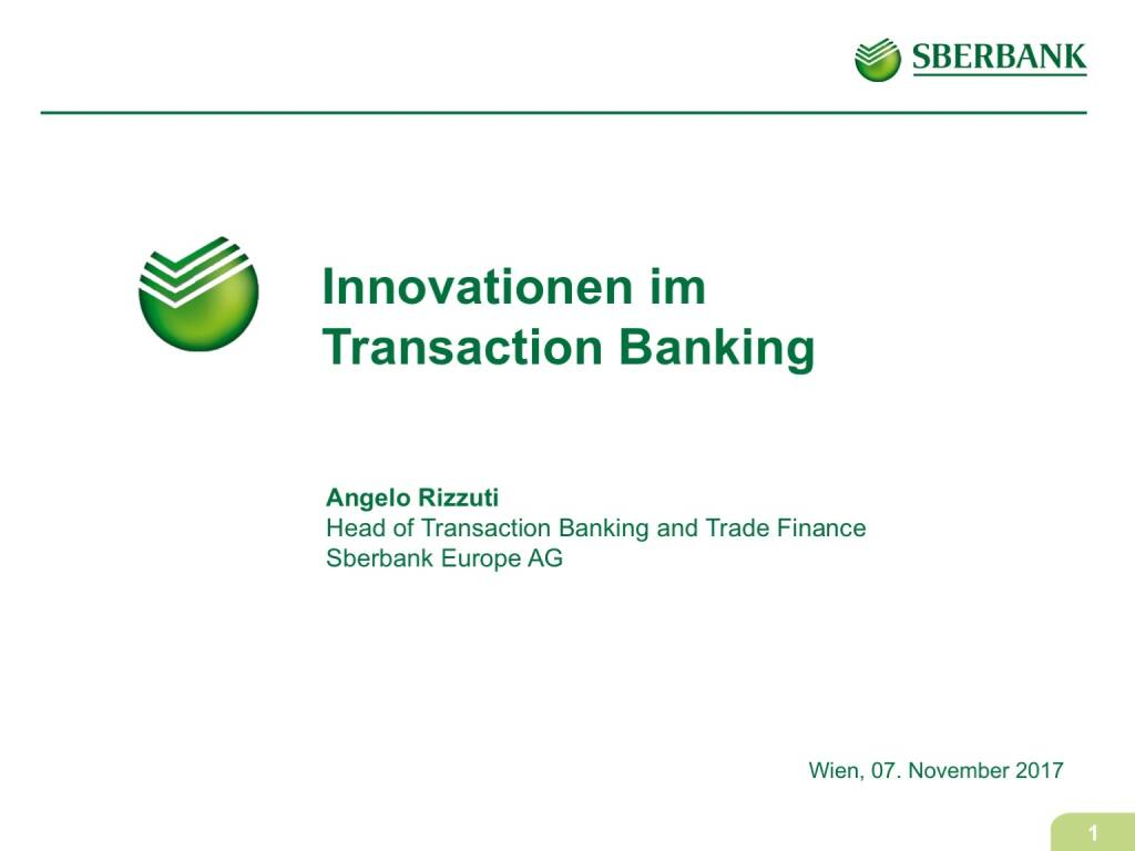 Präsentation Sberbank - Innovationen im Transaction Banking (07.11.2017)