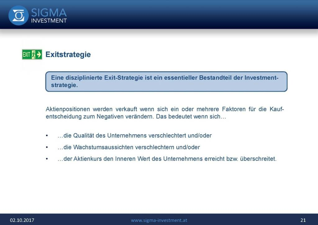 Präsentation Sigma Alfa European Opportunities Fonds - Exitstrategie (07.11.2017)