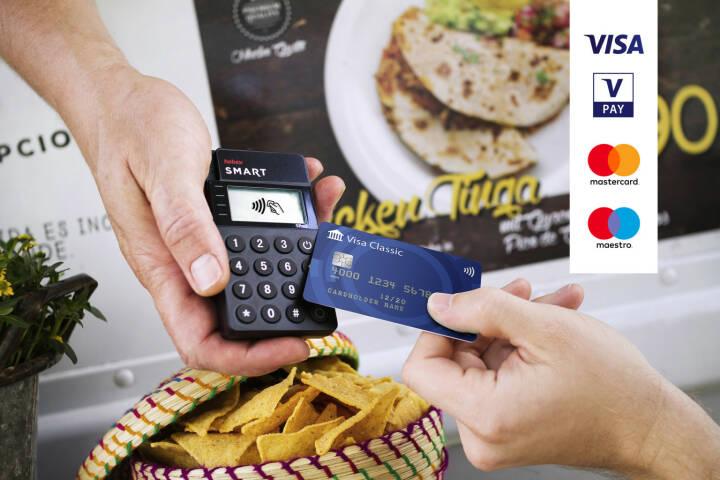 """Das neue Lesegerät """"SMART"""" von hobex: Eine günstige mobile Lösung - ideal für Taxiunternehmer, Handwerker, Ärzte, Cafés sowie praktisch alle Unternehmer, die mobile Kartenzahlungen anbieten möchten; Kreditkarte, bargeldlos zahlen,  Fotocredit: hobex"""