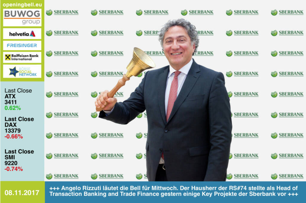 #openingbell am 8.11.: Angelo Rizzuti läutet die Opening Bell für Mittwoch. Als Hausherr der Roadshow #74 stellte der Head of Transaction Banking and Trade Finance der Sberbank Europe gestern im Rahmen von http://www.boerse-social.com/roadshow einige Key Projekte seiner Bank vor http://www.sberbank.at  https://www.facebook.com/groups/GeldanlageNetwork/ #goboersewien  (08.11.2017)