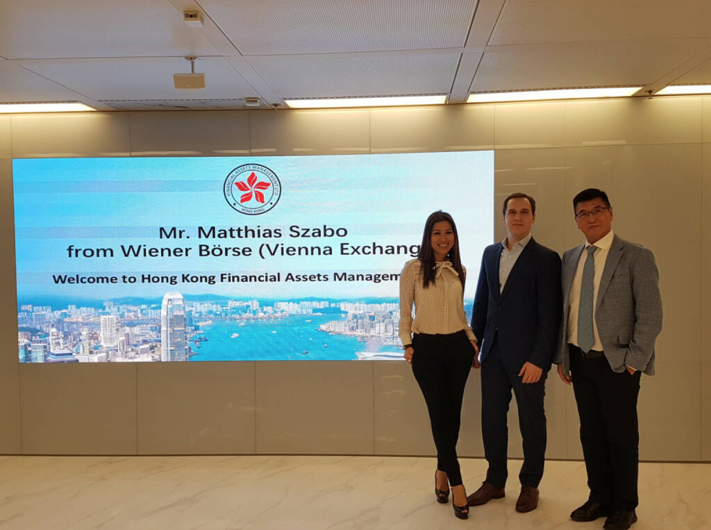 Matthias Szabo , Wiener Börse : Had a great time yesterday with the guys from Hong Kong Financial Assets Management. Very promising company with a clear vision for Chinese companies looking to enter international capital markets. Thanks Inez Chow and Stephen Lee for the warm welcome and interesting discussion! (09.11.2017)