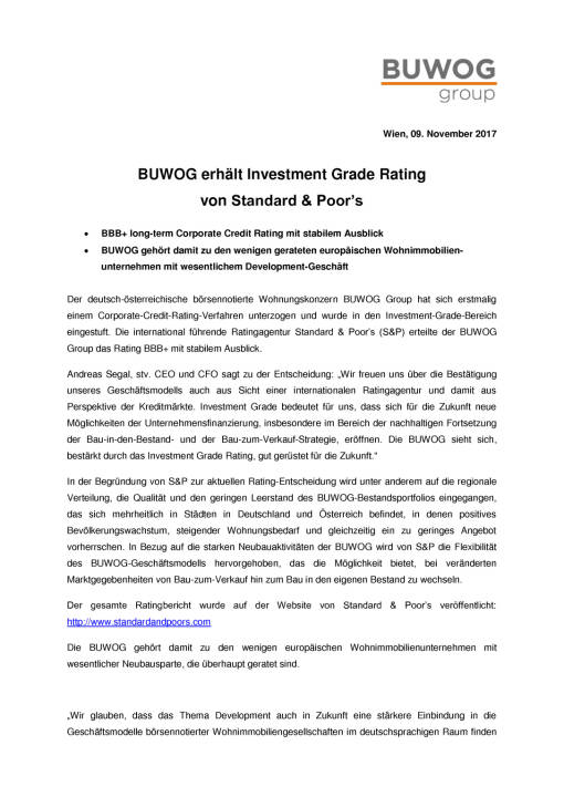 Buwog Group erhält Investment Grade Rating von S&P, Seite 1/2, komplettes Dokument unter http://boerse-social.com/static/uploads/file_2387_buwog_group_erhalt_investment_grade_rating_von_sp.pdf