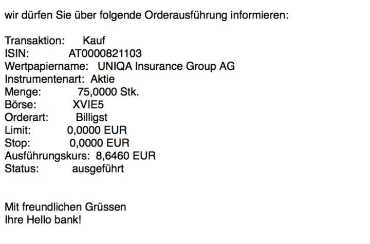 Kauf Uniqa für #100100hello (Teilausführungen 75 und 35 Stück)