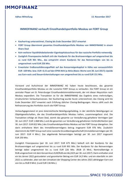 Immofinanz verkauft Einzelhandelsportfolio Moskau an FORT Group, Seite 1/3, komplettes Dokument unter http://boerse-social.com/static/uploads/file_2390_immofinanz_verkauft_einzelhandelsportfolio_moskau_an_fort_group.pdf (13.11.2017)