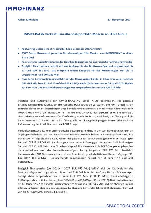 Immofinanz verkauft Einzelhandelsportfolio Moskau an FORT Group, Seite 1/3, komplettes Dokument unter http://boerse-social.com/static/uploads/file_2390_immofinanz_verkauft_einzelhandelsportfolio_moskau_an_fort_group.pdf