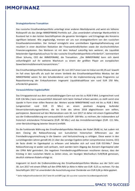 Immofinanz verkauft Einzelhandelsportfolio Moskau an FORT Group, Seite 2/3, komplettes Dokument unter http://boerse-social.com/static/uploads/file_2390_immofinanz_verkauft_einzelhandelsportfolio_moskau_an_fort_group.pdf (13.11.2017)