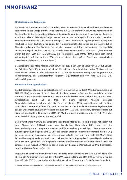 Immofinanz verkauft Einzelhandelsportfolio Moskau an FORT Group, Seite 2/3, komplettes Dokument unter http://boerse-social.com/static/uploads/file_2390_immofinanz_verkauft_einzelhandelsportfolio_moskau_an_fort_group.pdf