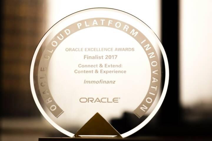 """Die IMMOFINANZ konnte den weltweit ausgelobten und in San Francisco verliehenen """"Oracle Excellence Award"""" in der Kategorie """"Cloud Plattform Innovation"""" ins Haus holen und schaffte es, sich gegen Mitbewerber aus der ganzen Welt erfolgreich durchzusetzen. Credit: Immofinanz"""