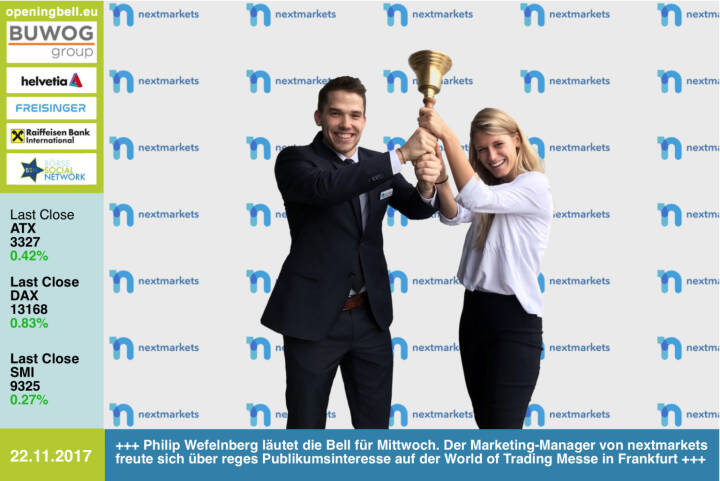 #openingbell am 22.11.: Philip Wefelnberg läutet die Opening Bell für Mittwoch. Der Marketing-Manager von nextmarkets freute sich über reges Publikumsinteresse auf der World of Trading Messe in Frankfurt http://nextmarkets.com/de/home #wot https://www.facebook.com/groups/GeldanlageNetwork/ #goboersewien