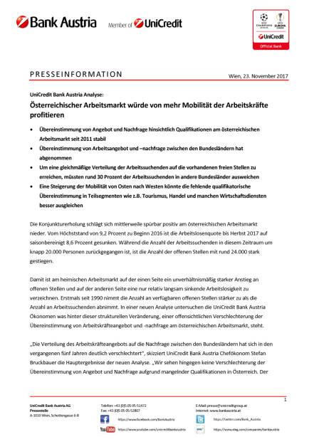 Österreichischer Arbeitsmarkt würde von mehr Mobilität der Arbeitskräfte profitieren, Seite 1/4, komplettes Dokument unter http://boerse-social.com/static/uploads/file_2397_osterreichischer_arbeitsmarkt_wurde_von_mehr_mobilitat_der_arbeitskrafte_profitieren.pdf (23.11.2017)
