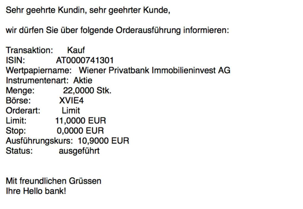 Kauf Wiener Privatbank für #100100hello (Teilausführungen) (24.11.2017)