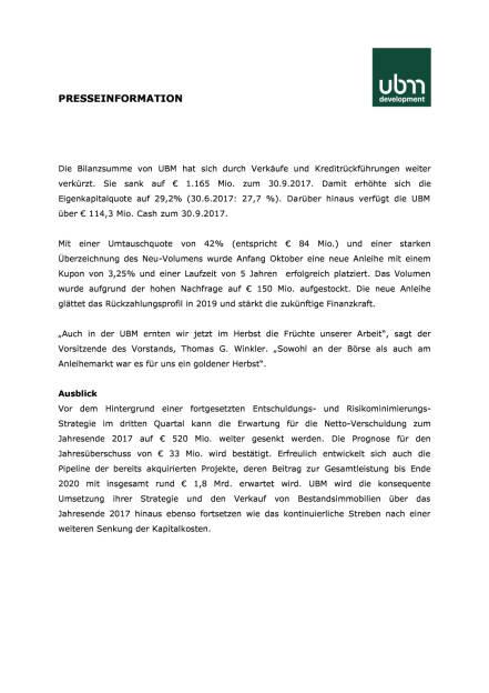 UBM: Q3 2017, Seite 2/4, komplettes Dokument unter http://boerse-social.com/static/uploads/file_2399_ubm_q3_2017.pdf (28.11.2017)