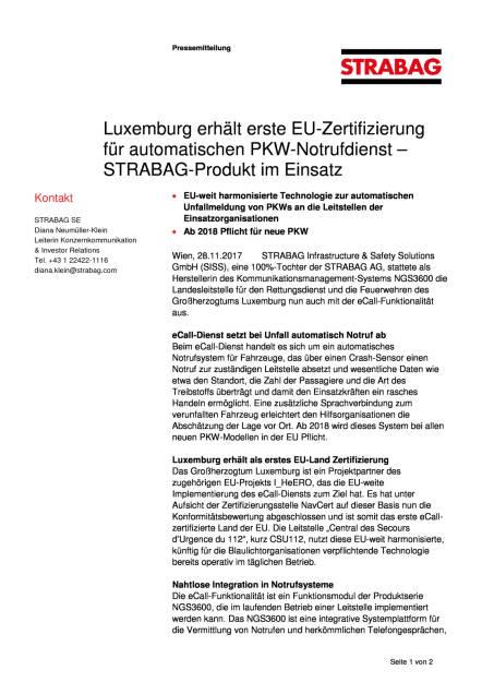 Strabag-Produkt im Einsatz: Luxemburg erhält erste EU-Zertifizierung für automatischen PKW-Notrufdienst, Seite 1/2, komplettes Dokument unter http://boerse-social.com/static/uploads/file_2403_strabag-produkt_im_einsatz_luxemburg_erhalt_erste_eu-zertifizierung_fur_automatischen_pkw-notrufdienst.pdf (28.11.2017)
