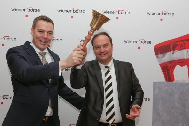 Fin Group AG startet an der Wiener Börse: Alexander Coenen Vorstand Fin Group AG und Jörn Follmer GF Capital for Markets GmbH; Foto: Wiener Börse