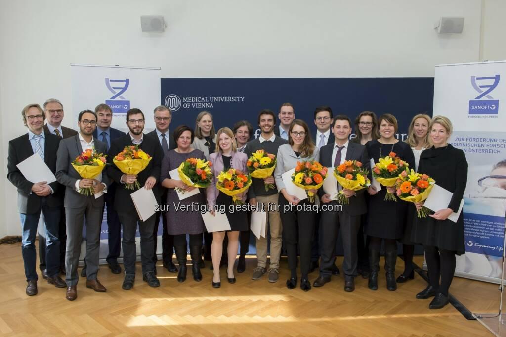 Sanofi Aventis GmbH: Sanofi Forschungspreis 2017 gestiftet: 12 NachwuchsforscherInnen ausgezeichnet (Fotocredit: sanofi-aventis GmbH/APA-Fotoservice/Hörmandinger), © Aussender (28.11.2017)