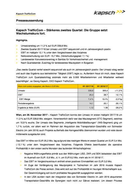 Kapsch: Halbjahreszahlen 2017/18, Seite 1/3, komplettes Dokument unter http://boerse-social.com/static/uploads/file_2405_kapsch_halbjahreszahlen_201718.pdf (29.11.2017)
