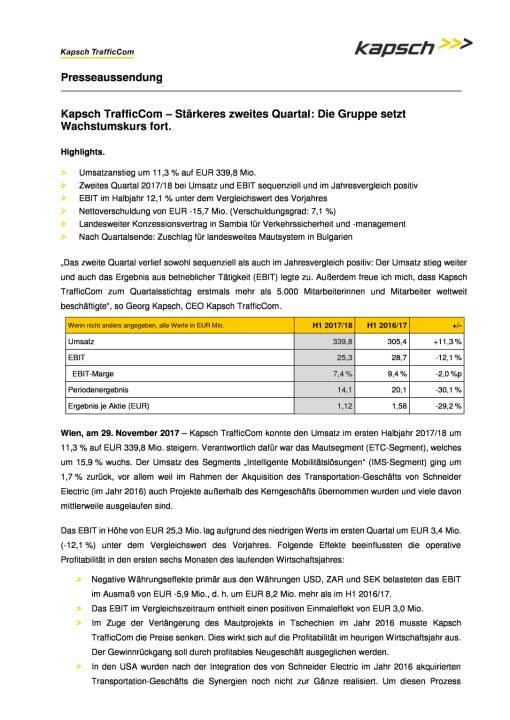 Kapsch: Halbjahreszahlen 2017/18, Seite 1/3, komplettes Dokument unter http://boerse-social.com/static/uploads/file_2405_kapsch_halbjahreszahlen_201718.pdf