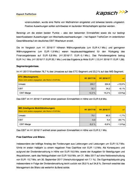 Kapsch: Halbjahreszahlen 2017/18, Seite 2/3, komplettes Dokument unter http://boerse-social.com/static/uploads/file_2405_kapsch_halbjahreszahlen_201718.pdf (29.11.2017)
