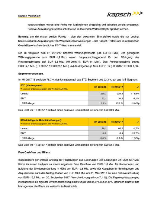 Kapsch: Halbjahreszahlen 2017/18, Seite 2/3, komplettes Dokument unter http://boerse-social.com/static/uploads/file_2405_kapsch_halbjahreszahlen_201718.pdf