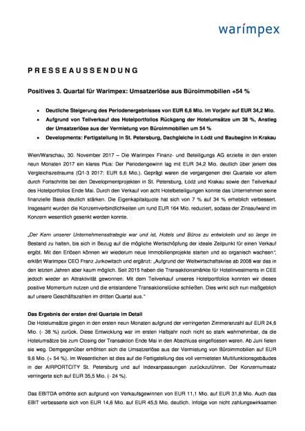 Warimpex: Q3 2017, Seite 1/4, komplettes Dokument unter http://boerse-social.com/static/uploads/file_2408_warimpex_q3_2017.pdf (30.11.2017)