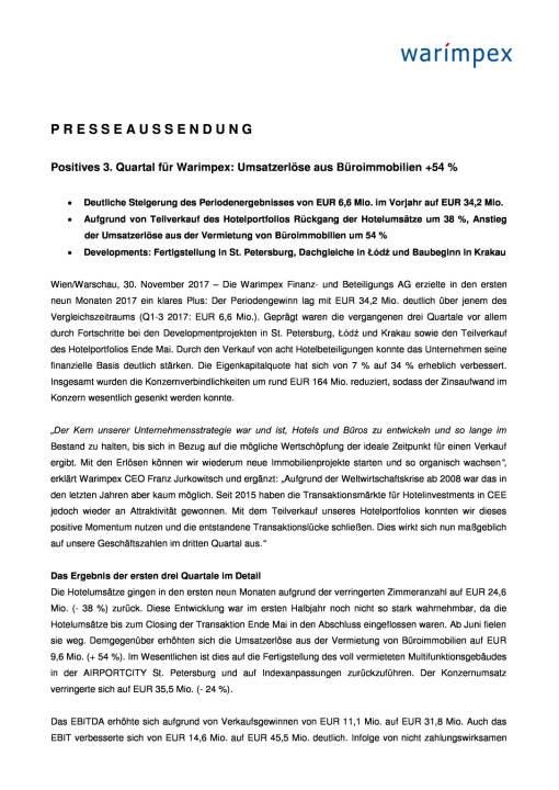 Warimpex: Q3 2017, Seite 1/4, komplettes Dokument unter http://boerse-social.com/static/uploads/file_2408_warimpex_q3_2017.pdf